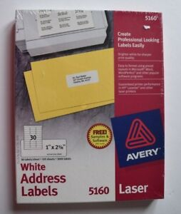 Avery 5160 Easy Peel Address Labels Laser Printers 1 X 2 5 8 Box Of 3000