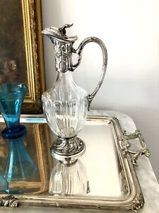 Antique Silver Plated Crystal Carafe Decanter By Victor Saglier