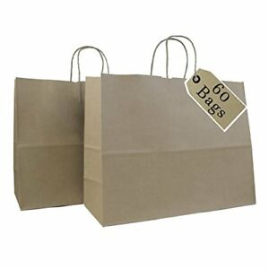 Paper Kraft Bags Party Gift Handle Shopping Retail Merchandise 60pc Brown Strong