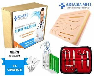 Complete Suture Practice Kit For Suture Training Including Large Silicone Pad