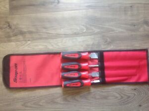 Snap On Tools 4pc File Set Soft Grip Handle Red black Free Shipping