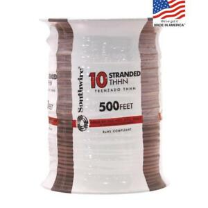 Southwire 22980757 500 ft 10 Awg Stranded Brown Copper Thhn Wire By roll New Fsh