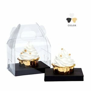 Yotruth Clear Cupcake Box Individual With Handle And Black Insert 20 Pack For