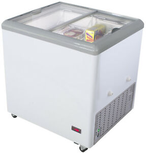 Chef s Exclusive 31 Commercial Mobile Ice Cream Glass Display Chest Freezer