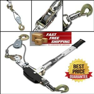 5 Ton Come a long Power Cable Puller Heavy Duty With Three Hooks And Two Gears