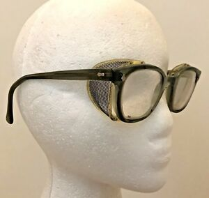 Ao American Optical Safety Glasses Green Frames Steampunk Side Shields Vintage