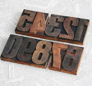 0 9 Numbers Letterpress Wood Printing Blocks Wooden Letters Printer Antique Chic