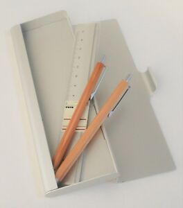 Muji Wooden Ballpoint Pen mechanical Pencil aluminum Pen Case ruler Set New