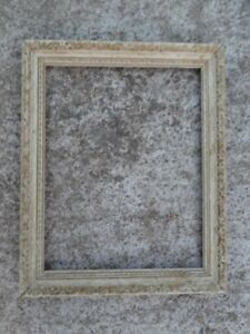 French Style Vintage Ornate White Gold Gilded Wood Frame Holds 11 X 14 Pic