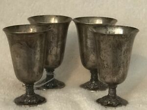 Vintage Sterling Silver Repousse Cordial Cups Du Barry Forget Me Not Flowers