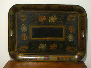 Antique Tole Painted Tray Restored 1966 Signed