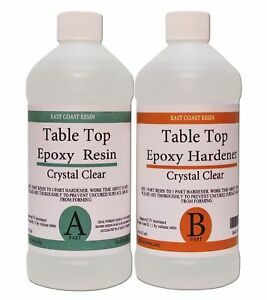 Table Top Epoxy Resin Crystal Clear 32 Oz Kit For Super Gloss Coating