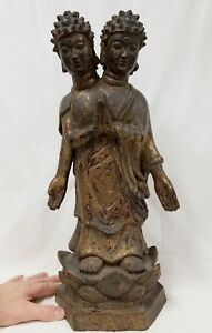 Large Antique Chinese Tibetan Bronze Bodhisattva Double Headed Gilt Buddha