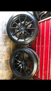 19 Ford Mustang Shelby Gt350 Wheels Rims And Tires Factory Black Oem set Of 4