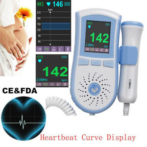 Us Color Lcd Monitor Fetal Doppler Prenatal Fetus Baby Heartbeat Rate Sound 2mhz