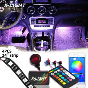 4pc Rgbw Led Neon Interior Car Accent Glow Footwell Led Lights Kit App Remote