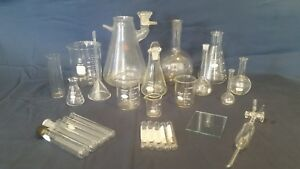 26 Lot Lab Glass Assorted Pyrex Kimax Beakers Flasks Tubes Stoppers Funnel