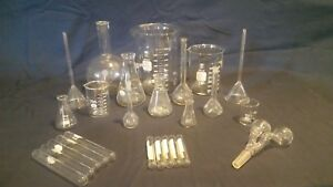 25 Lot Assorted Lab Glass Pyrex Kimax Beakers Flasks Funnels Tubes Vacuum