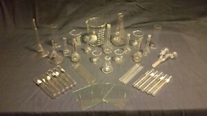 55 Lot Lab Glass Assorted Pyrex Kimax Beakers Flasks Funnels Tubes Rods
