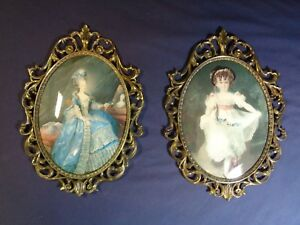 Vintage Pair Of Oval Metal Picture Frames With Pictures Convex Bubble Glass