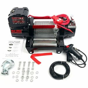12000lbs Electric Winch 12v Towing Truck Trailer Steel Cable Offroad New Us