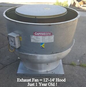 Used Captive air Exhaust Fan 1hp 3600 Cfms 12 14 Hood Free Local Pick Up