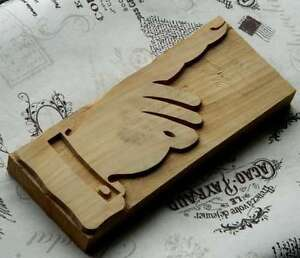 Giant Pointing Hand 8 07 Letterpress Wooden Printing Block Wood Printer Type