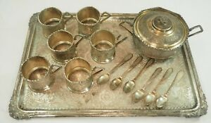 Antique 1800s 1900s Persian Iran Sterling Silver 84 925 Tea Set Tray Cup Spoon