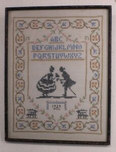 Antique Sampler Cross Stitch On Linen Alphabet Signed And Dated