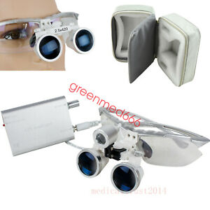 Silver 2 5x420 Dental Surgical Loupes led Headlight Lamp protective Cloth Case
