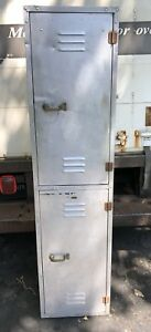 Vintage Aluminum Stacked Locker Drawers Shelves Industrial Storage Lockers
