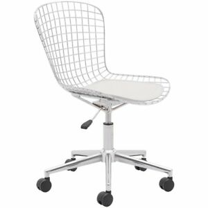 Zuo Wired Swivel Office Chair With Faux Leather Cushion In White