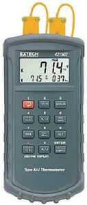 Extech 421502 J k Dual Thermocouple Thermometer Comes w 2 Sensors