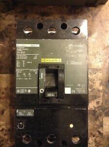Square D Kal36225 225 Amp Breaker W trip Adjust And Button