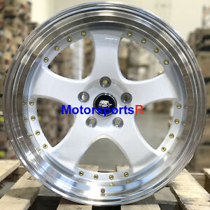 Mst Mt07 18 20 White Deep Lip Rims Staggered Wheels 5x114 3 98 Ford Mustang Gt