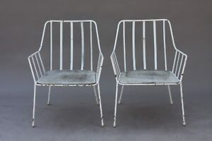 Rare Paul Laszlo Iron Chairs Beverly Hills Billy Haines Mccobb Modern Vintage