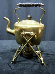 Early 19th C Brass Teapot On Stand With Original Burner Marked Dented