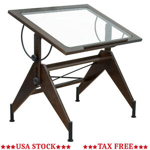 Adjustable Drawing Table Wood Drafting Craft Glass Top Work Desk Station Board
