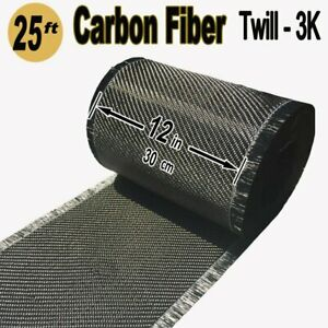 12 X 25 Ft carbon Fiber Fabric 3k Tow 220g m2 2x2 Twill Weave