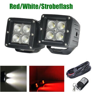 2x 3 Led Work Light Flood Beam Fog Pods White red strobe Emergency Warning Lamp