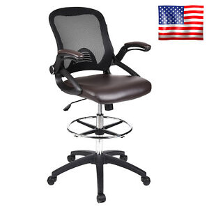 Durable Drafting Office Chair Mesh Mid Back Pu Leather Swivel Footrest Seat Home