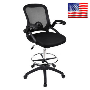 Mid Back Drafting Chair Stool Mesh Swivel Armrest Computer Office Task Seat