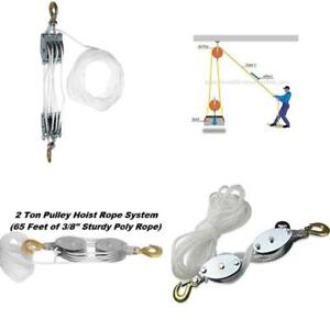 Poly Rope Pulley Block And Tackle Hoist With Safety Snap Hook Heavy Duty 65 Foot