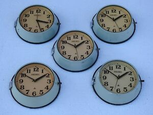 Lot Of 5 Vintage 1980 S Maritime Clock Slave Nautical Ship Seiko Quartz In Japan