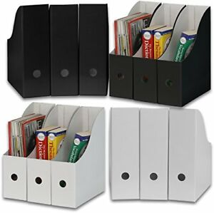 Simple Houseware White Black Magazine File Holder Organizer Box Pack Of 12