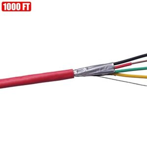 1000ft Shielded Solid Fire Alarm Cable 22 4 Copper Wire 22awg Fplr Cl3r Ft4 Red