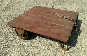 Vtg Small Factory Cart Platform Potting Table Rustic Old Industrial Primitive