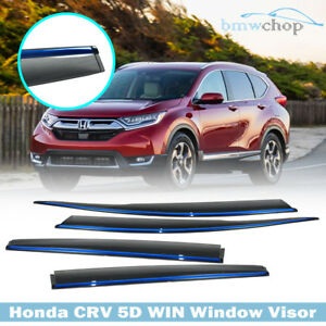 17 19 Chrome Blue Line Honda Crv 4th Suv Side Sun Rain Window Visor Ex Lx