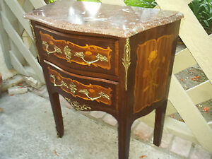 French Petite Bombe Commode Marble Top Nightstand Inlaided Flowers And Bronze