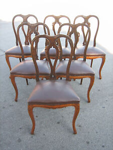 French Italian Louis Xv Set Of 6 Dinning Chairs W Hand Carving Detail
